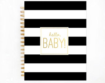 Baby Book, BLACK STRIPE Baby Memory  Book, Personalized Baby Book,  Baby Books, The Sweet Rhino