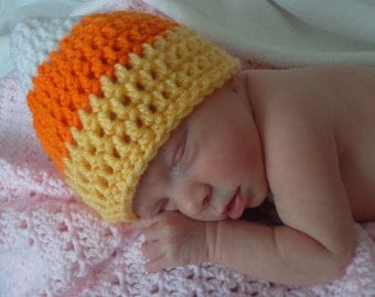 Crochet baby candy corn hat newborn or 0 3 3 6 month infant  boy or girl photography photo prop halloween fall yellow orange white