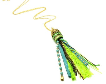Fringe jewelry, Tribal Necklace, Lime Green necklace, Gift for wife, Ethnic pendant, Ethnic necklace, Green tassel, Hippie fringe