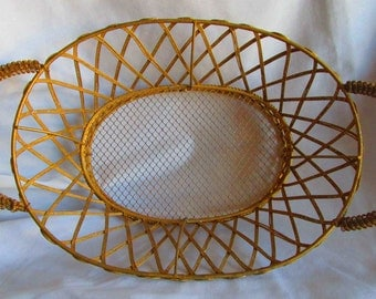 Gold Wire Basket with Glitter Accent