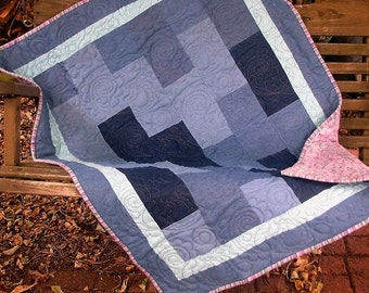 Quilt - Denim Quilt - Paisley and Denim - Baby Girl Quilt, Youth Quilt