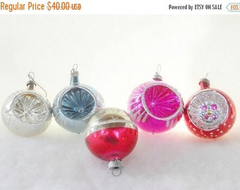 On Sale Antique Blown Glass Ornaments, Set of 5, Christmas Ornaments, Holiday Decor, Collectible, Tree Decorations, Set 3