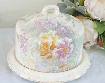 Antique Royal Bonn Floral China Round Butter or Cheesekeeper, Franz Anton Mehlem, Tea Party,  Cottage Style Decor, Bonn Germany, Ca. 1836