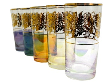 Drinking Glasses Cocktail Highball Tumblers Gold Floral Pattern and Iridescent Lusterware Mixed Colors