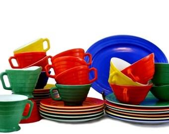 Hazel Atlas Platonite Moderntone Carnivaleware - Primary Dinnerware 37 Total Pieces