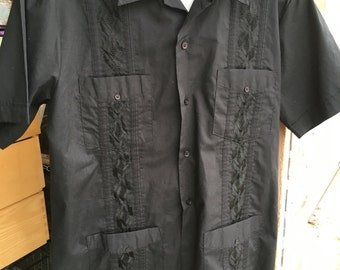 Vintage Hipster 70s Men's Milano Bay black short sleeve shirt size medium free domestic shipping