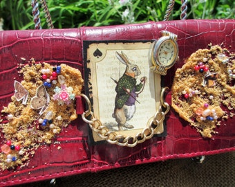 Alice in Wonderland White Rabbit Red Clutch Purse free shipping