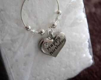 One Happy Birthday Silver Wine Glass Charm with adjoining silver and crystal clear beads
