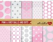 80% off Scrapbooking Digital Paper Pack PINK GREY Background to Print Digital Download 12/15