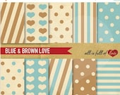 80% off DIGITAL PAPER Pack Blue Brown patterns polka dots printable background Valentines paper with Instant Download