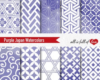 Purple Watercolor Paper Japanese Digital Scrapbook Paper Watercolor Graphics Personal & Commercial Use Printable Papers 12x12