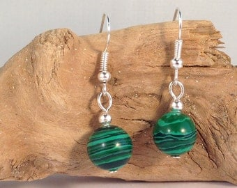 MALACHITE Round 10mm Natural Stone EARRINGS on Nickelfree Hooks