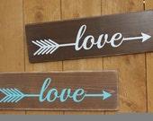 Love Arrow Handpainted Rustic Customizable Cedar Fenceboard Sign