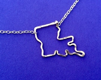 Louisiana shaped state necklace hammered in gold wire, Louisiana jewelry, Gold and Sterling Silver Louisiana necklace