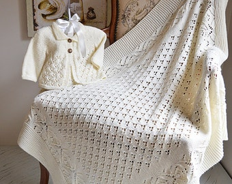 Lace and Diamond Heirloom Blanket and Matching Jacket P098