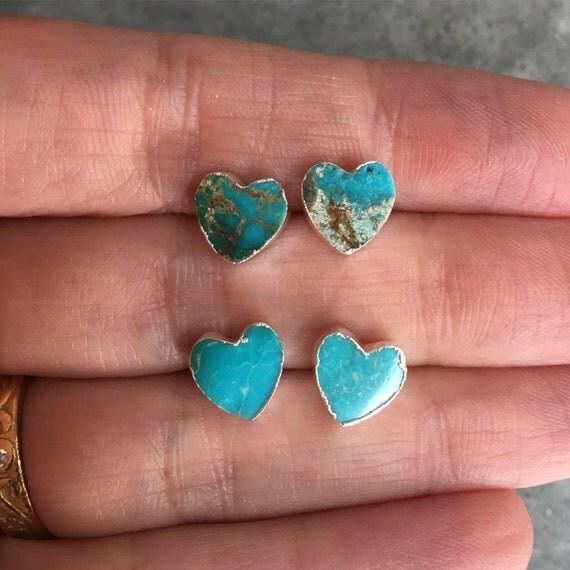 Turquoise Heart Earrrings, boho style, sister gift, mother gift