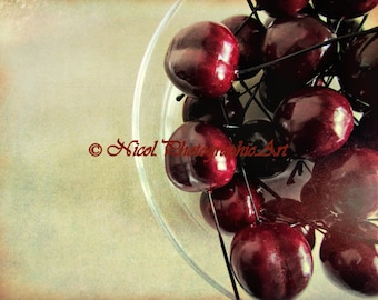 Life is a Bowl of Cherries Still Life Matted Picture Art Print A446  red marroon cream green