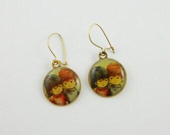 70s Folk Art Earrings - Girl and Boy