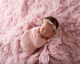 Vintage Pink Rose Baby Flower Headband, Baby headband, Newborn Headband, Baby Girl Flower Headband, Photography Prop