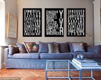 YVR Vancouver neighbourhoods art print, Restoration Hardware-style poster or canvas
