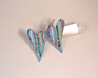 Blue Heart Earrings, Long Colorful Heart Drops, Whimsical Enamel Metal Jewelry