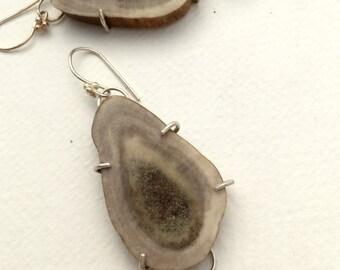 Rustic Artisan Earrings, Natural Reindeer Antler Slice Drops, Bone Jewelry, Agate Dangle Earrings, Organic Jewelry, Sterling Silver