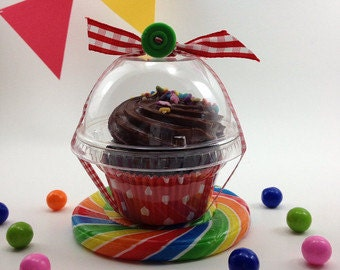 20 Clear Candy / Cupcake Holders  with Lid, Party, Wedding Favor