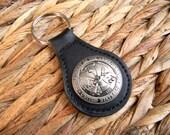 Army Concho Keychain, Black Leather Army Key Fob, Key Ring, Army Gifts, Military , US Army Wife Girlfriend, Army Boyfriend, Groomsmen Gift