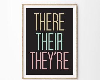 There Their They're Art Print Poster | Classroom Wall Art | Home School Educational Art Poster | Home Office Wall Art | Grammar Art Print