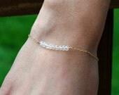 Dainty Gold Bracelet, Tiny Gemstone Bracelet, Everyday, Gold Chain, Simple Stacking Bracelet, April Birthstone, Sterling Silver Chain