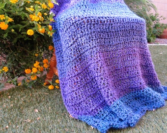 Purple and Blue Blanket / Soft Handmade Throw Blanket / Boho Blanket / Crochet Blanket / Throw Blanket / Purple Throw