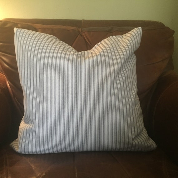 Farmhouse Pillow Cover Gray Ticking Stripes Pillow By