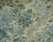 Vintage Cottage Chic Curtain Panels, Floral Print, Cornflower Blue, Sage Green and White, Linen Look