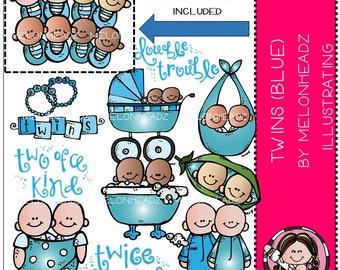 Twins clip art - (blue)
