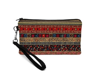 iPhone 6s plus Clutch, Makeup Wallet Removable Wristlet Strap, Errand Runner, Galaxy S 6 Purse -  red bohemian stripes with gold accents