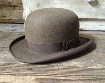 Gray Brown Bowler Derby Hat Summer Weight Leather Headband By Lenhoffs