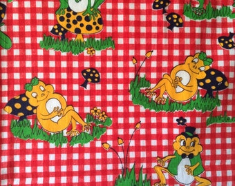 Cute Vintage 60s Adorable Big Eyed Frog and Mushroom Fabric Red Gingham Juvenile Print Cotton Cute Bright Fun