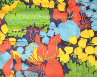 Vintage 60s Mod Abstract Floral Fabric Lime Green Yellow Bright Red and Blue Sheer Gauze Mod Floral Print Curtain Home Decor Cute Bright Fun