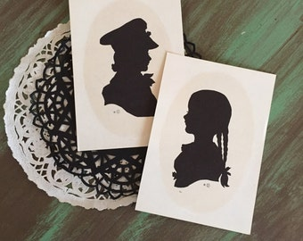 SALE! Silhouettes Girl & Boy / 2 Vintage Silhouette Prints for Mixed Media, Collage, Scrapbooking, Journals, etc.