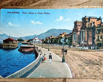 2 Rare Palermo, Sicily, 1918, 1921, Postcards - Antique Postcards, Two Colored, One Linen Finish, One Sepia - Four Antique Postcards, Sicily