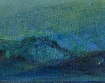 original painting, small scale, acrylic painting on canvas, stretched canvas, abstract painting, abstract landscape painting, horizon, sky