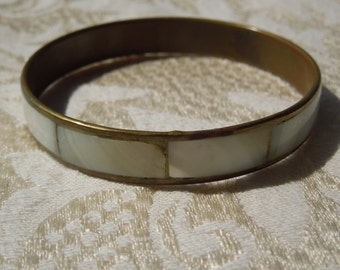 Vintage Brass Bangle with Mother of Pearl.