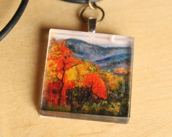 Autumn Leaves Pendant Necklace -  Wearable Art by Mandolin Artworks