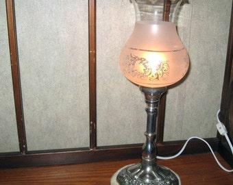 International Silver Company, Stick Lamp, Original glass shade, night light, electric lamp, victorian lamp