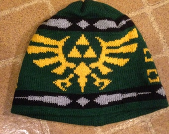 Triforce Beanie Hat: Hunter Green with Yellow, Medium