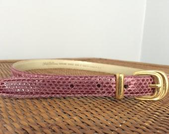 Saks Fifth Avenue Pink Snake Skin Belt with Gold Hardware