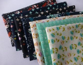 Fat Quarter Bundle, Organic Cotton Fabric - Cloud 9 Fabrics, Vignette, 7 Fat Quarters