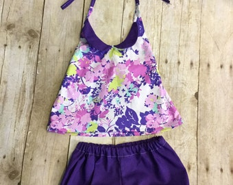 3T Floral Halter Top and Shorts Girl Set - Custom made