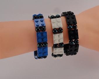 LEGO Bracelet black blue strip beads