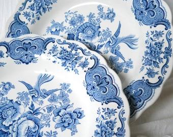 2 vintage soup plates blue floral salad plates blue soup plates blue salad plates english transfer ware Ridgway Windsor